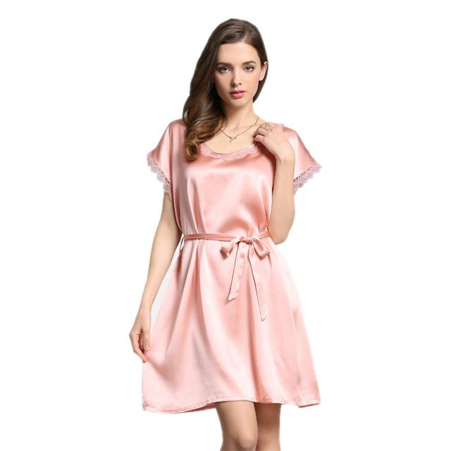 cc541ad4f5 Women Sexy 100% mulberry silk Nightgown Satin Robes Kimono Nightwear  Sleepwear Bath Robe Short sleeve with Belt