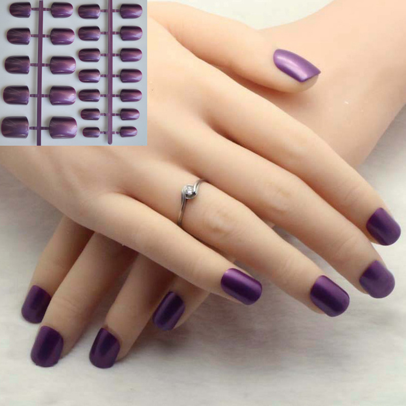 easy simple pure color candy nail art false nail tips Lady Artificial finger tip decor pearl shiny dark purple color 24pcs