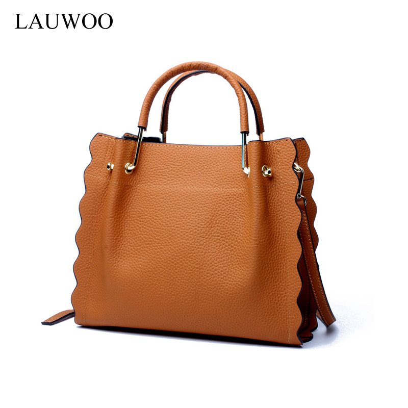LAUWOO brand latest Women fashion cow leather wave handbag Female Casual Messenger Bag Lady 's Genuine Leather tote bags charming full bang medium capless vogue layered natural straight human hair wig for women