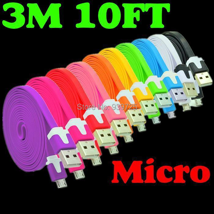 imágenes para 3 M el 10FT flat Fideos Micro Usb cable Paquetes de Accesorios para HTC y Samsung Galaxy S3 S2 y Nokia y LG y Sony precio barato