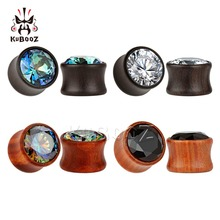 KUBOOZ 10 個耳木材はトンネル紫檀ジルコンピアスボディジュエリーファッションイヤリング黒パンダギフトユニセックス