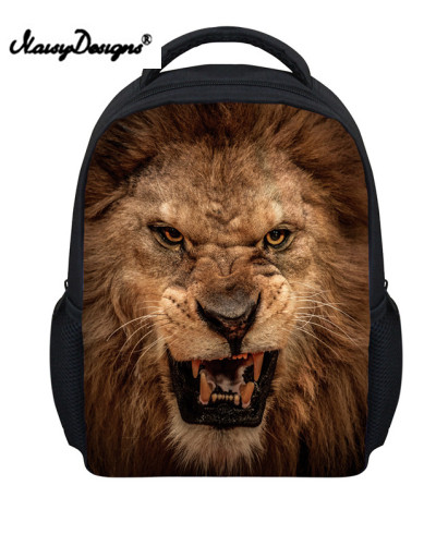 Cool 3D Animal Lion Head Printing Children Backpacks for School Funny Animal Child Baby Kids Bagpack Kindergarten Bookbag