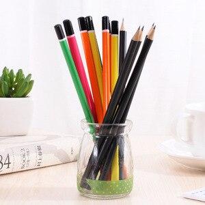 Image 5 - 100 sztuk drewniany ołówek cukierki kolor trójkąta ołówki z gumką śliczne dzieci szkoła materiały biurowe do pisania ołówek grafitowy