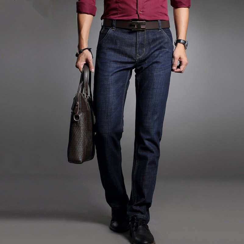 Black Plus Size Leisure Denim Pants for Men Business Classic Male Dress Jeans Autumn New Straight Fashion Jeans Homme