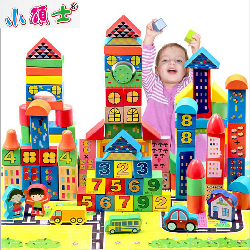 High Quality Wooden City Traffic Building Blocks Set For Children Kids Early Education Model Intelligence Games Toys Gift цена