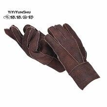 Yiyyunshu мужские перчатки из овчины, натуральная кожа, варежки, ручная работа, толстые зимние теплые перчатки из натурального меха, мужские кожаные перчатки