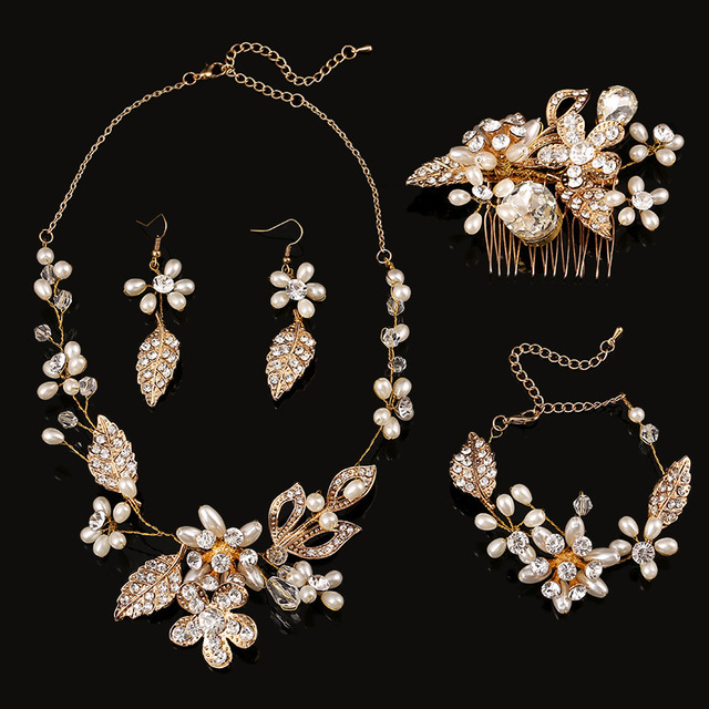 4 pieces bridal Jewelry Sets hair Combs/Necklaces/Earrings/bracelets handmade wedding accessories wholesale pearl jewelry sets