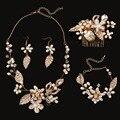 4 unidades de Joyería nupcial peinetas/Collares/Pendientes/pulseras hechas a mano accesorios de la boda conjuntos de joyería de perlas al por mayor