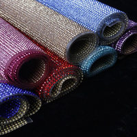 24*40cm Glass Crystal Rhinestone Trim Banding Hotfix Strass Crystal Mesh Bridal Beaded Applique For Dress Clothes Jewelry