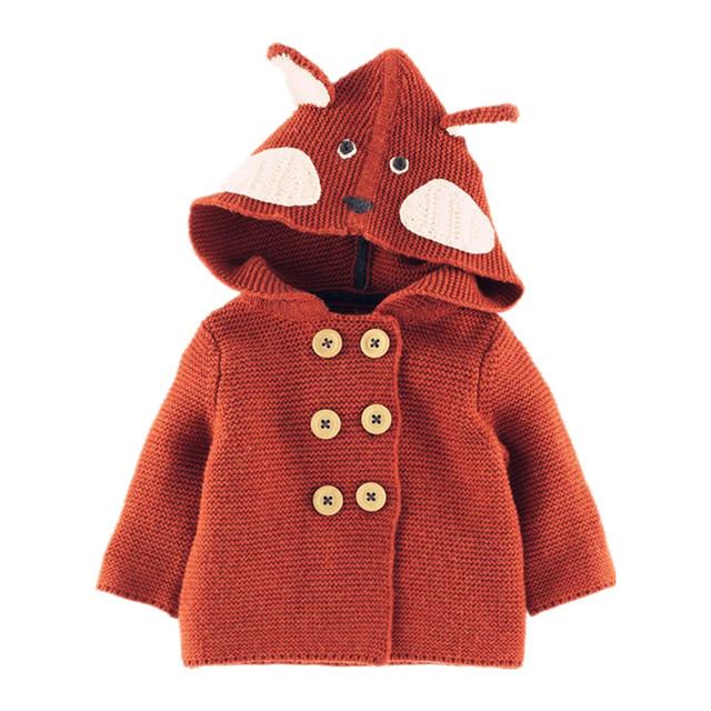 Bebé Chicas Cardigans Suéter Animal Lindo para Los Niños Con el Oído Del Bebé de Doble Botonadura Suéter Boy Niños Suave de Punto 1-4 Años