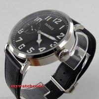 46 мм Парнис световой черный циферблат 6497 Рука обмотки кожаный ремешок мужские часы P274