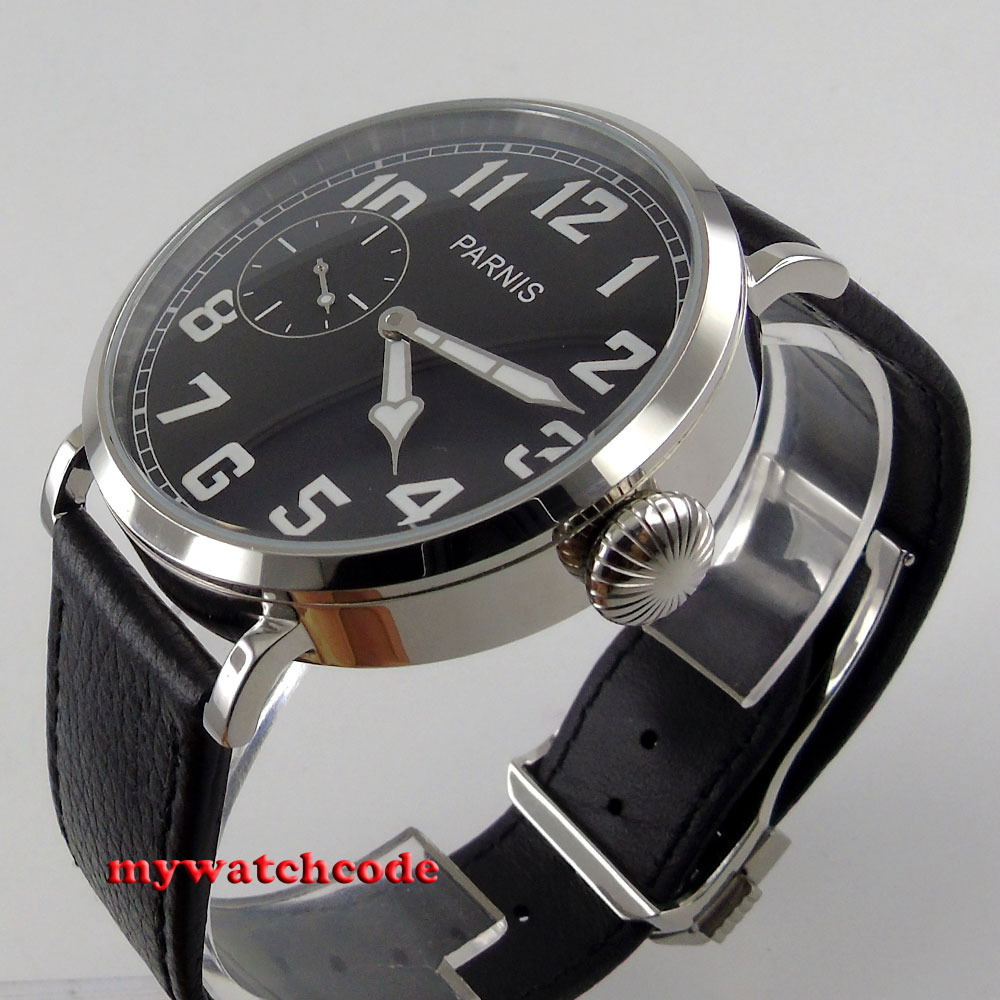 46mm parnis luminous black dial 6497 hand winding leather strap mens watch P274 цена и фото