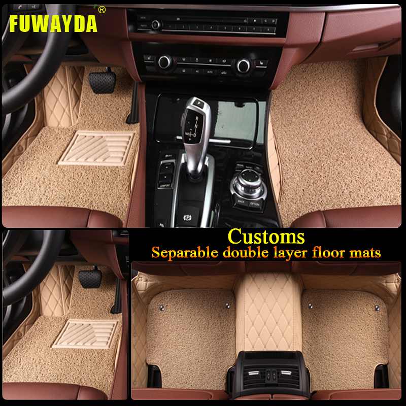 free shipping Luxury Double layer fabric car floor mats for AUDI A1 A3 A4 A5 A6