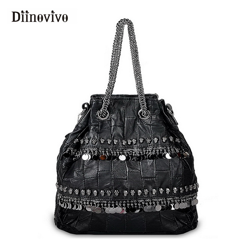 DIINOVIVO Punk Style Women Genuine Leather Bag Chain Female Motorcycle Rivet Tote Designer Skull Travel Shoulder Bags WHDV0336 плед cleo 042 op 180х200 см