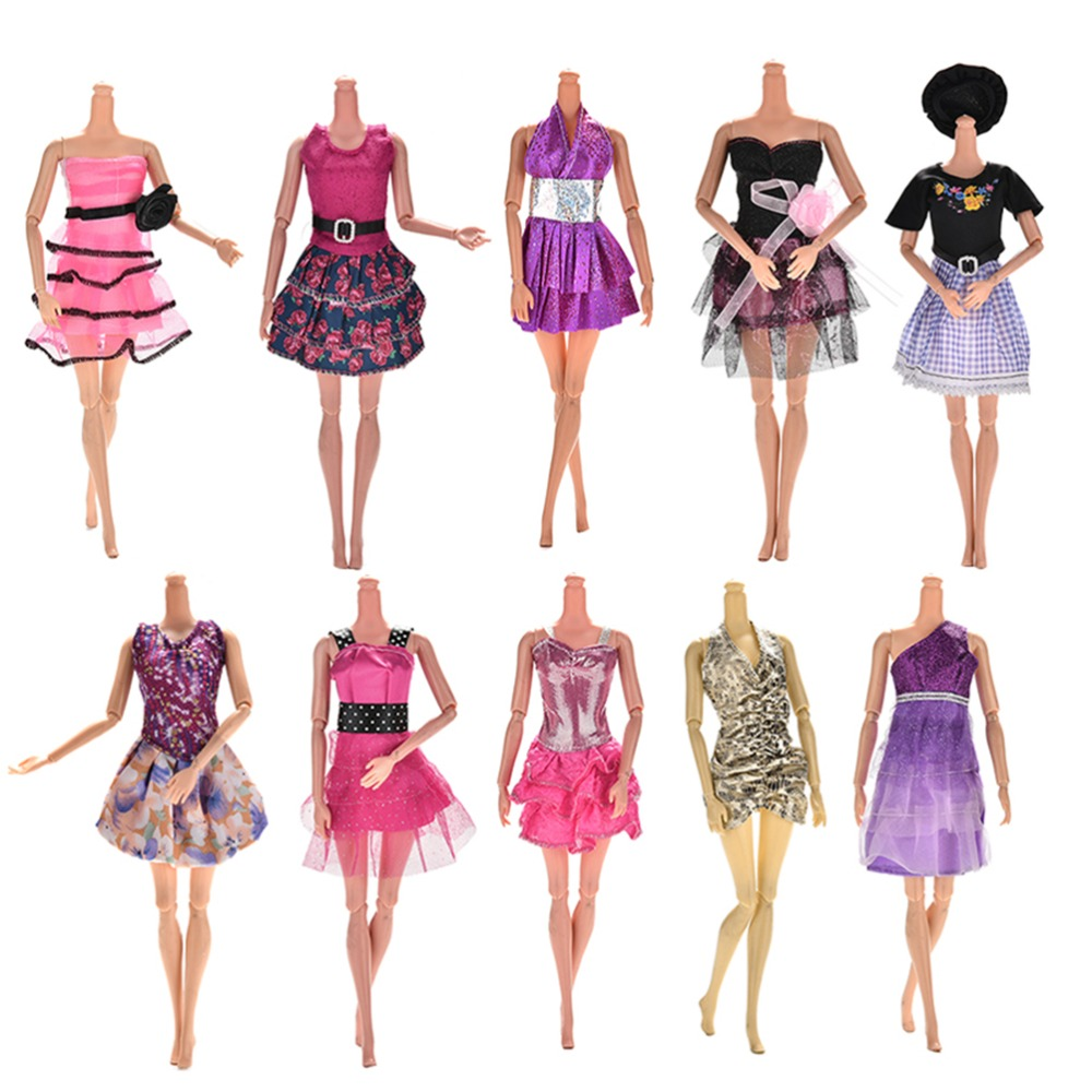 10-Pcslot-Fashion-Clothes-Casual-Party-Dress-Suits-For-Barbie-Doll-Best-Gift-Baby-Toy-Doll-Clothing-Sets-Randomly-Pick-Hot-Sell-3