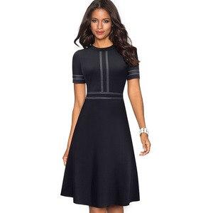 Image 5 - Платье Nice forever A135 женское винтажное с круглым воротником