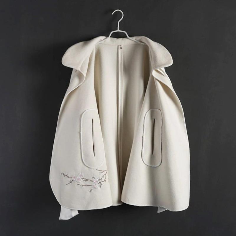 Nouveau Laine Manteau Plein Chinois Veste Broderie Style Femelle Automne Main Beige Hiver Lâche 8qax1O5R