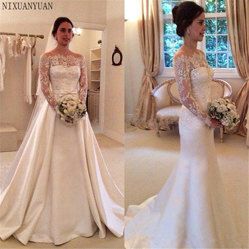 Gorgeous Boat Neck Satin Mermaid Wedding Dresses Detachable Train Lace Appliques Beaded Long Sleeves Wedding Gown Bridal Gowns