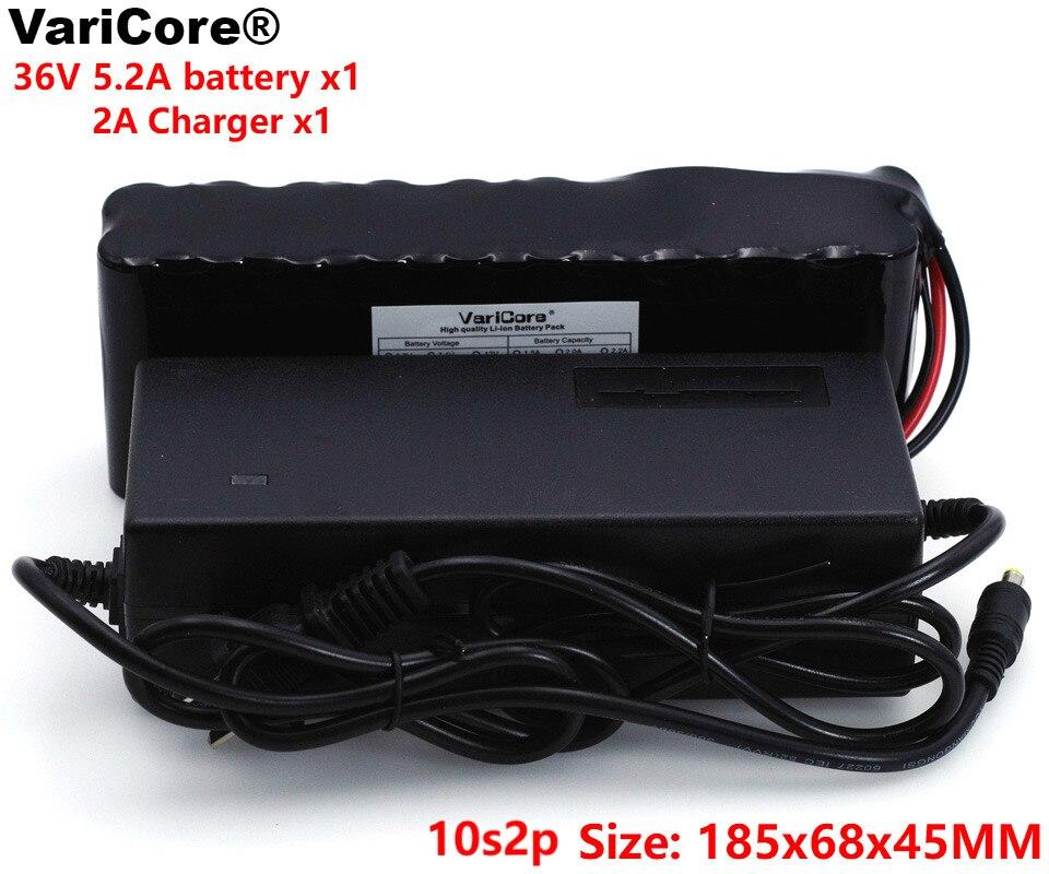 VariCore 10S2P 18650 36 V batterie Rechargeable 5.2Ah vélos modifiés, 42 V véhicule électrique Protection PCB + 2A chargeur