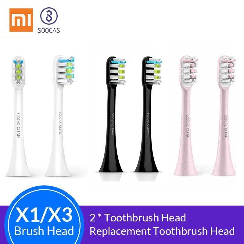 Soocas X3 X1 X5 Cabeças Escova de Dentes para Xiaomi Mijia X3 Sonic Substituição cabeças de Escova de Dentes Elétrica Cabeça da Escova de Dentes originais 2pcs