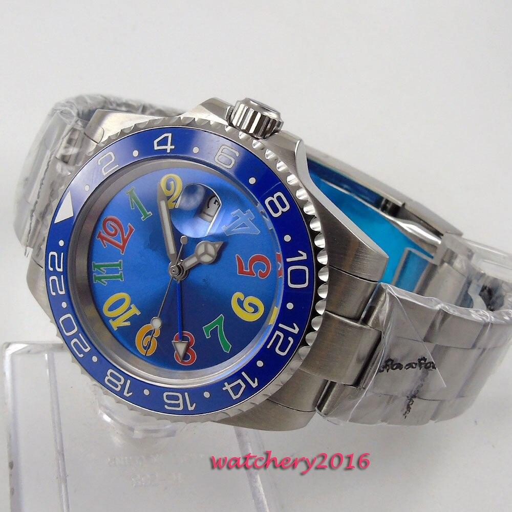 New 40mm Bliger Blue dial ceramic bezel GMT Sapphire Crystal Luminous Hand date window Automatic Mechanical Men's Wristwatches 44mm bliger gray dial blue ceramic bezel sapphire crystal automatic movement men s mechanical wristwatches