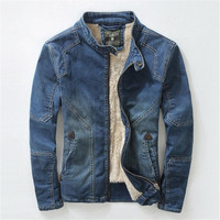 2016 New Winter Plus Thick Denim Men S Jacket Velvet Collar Slim Men S Denim Jacket