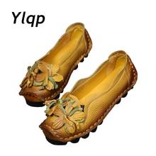 Новая осенняя обувь ручной работы с цветами Женская обувь на мягкой подошве с цветами Повседневные босоножки Стильная женская обувь из натуральной кожи в народном стиле