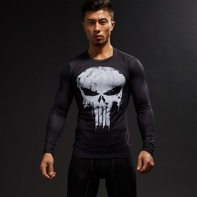 T-Shirt à manches longues 3D T-Shirt homme T-Shirt homme Captain America Superman T-Shirt hommes Fitness chemise de Compression punisseur MMA