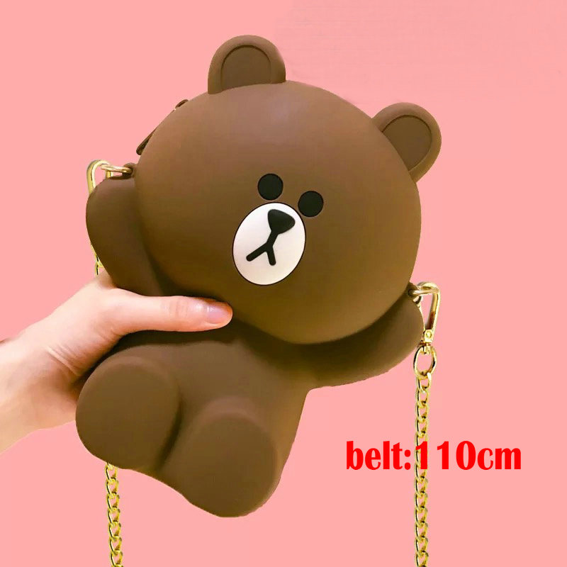 Cute Brown Bear Silicone Plush Crossbody mini Bag Parent child Mother and child Family Phone Bag Pig Dress Bear Birthday Gift in Plush Backpacks from Toys Hobbies