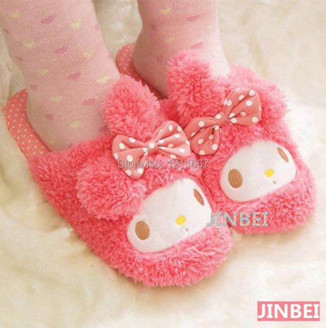 Бесплатная доставка каваи плюшевые розовый сентиментальный кролик ( размер ) теплые тапочки, Домашние тапочки зима, Домашние тапочки рождественский подарок