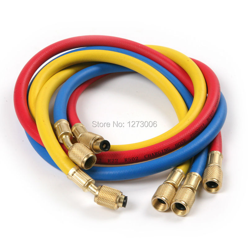 Hot 3Pcs 1/4'' SAE 90CM R12 R22 R502 Refrigerant Charging Hose Auto Car Air Conditioning Tube Pipe With Copper Fittings 3 Colors 1set car r12 r22 refrigerant freon hoses 30cm length air conditioning dispensing valve gas charging hose car accessories