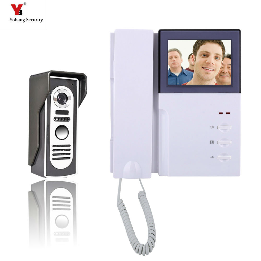 Yobang Security 4 Home Video Intercom Doorbell phone System With Telephone Hands Free Monitor Intercom Doorbell Night Vision