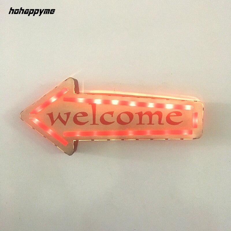 Bienvenue néon signes lumière LED plaque de métal Club café Pub Bar décoration tenture murale Art Vintage décor à la maison