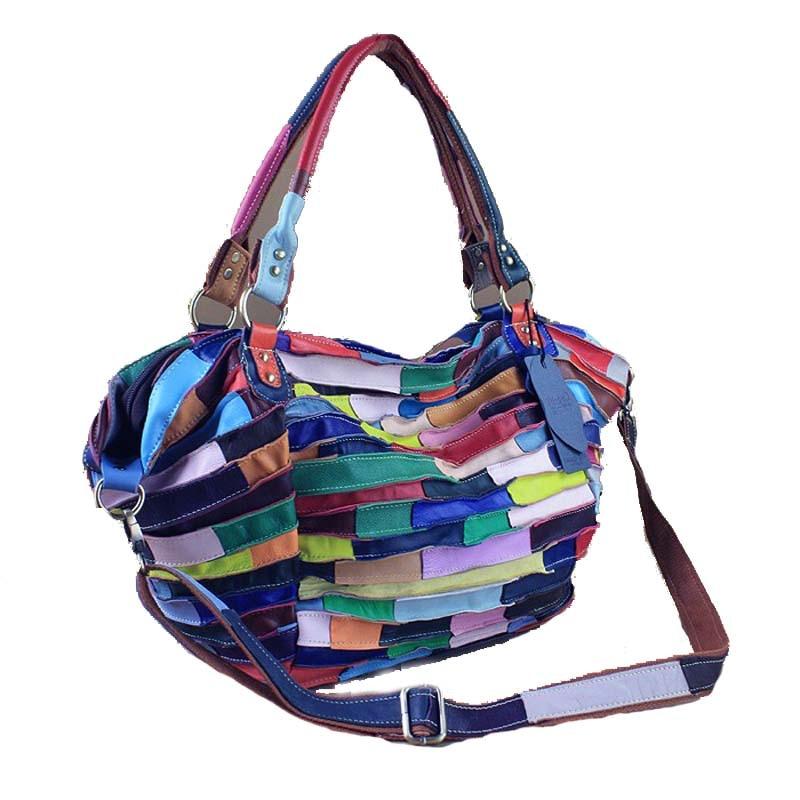 Women Handbags Designer genuine leather bag Tassel flowers rivetzipper travel Striped sheepskin splice Shoulder Messenger Bags