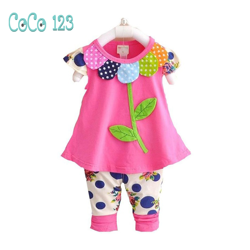 1 2 3 4 Year Baby Girls Clothes 2018 New Summer Cotton Kids Suits Flower Tops Pants 2pcs Casual Chidlren Clothing Set