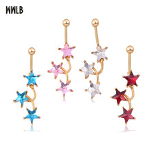 1pc Fashion Surgical Steel Gold Color Stars Navel Belly Button Rings Bar Piercing Sexy Body Jewelry for Women CZ navel piercing