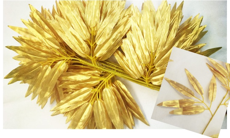 20 pieces golden artificial bamboo leaves artificial silk plants Artificial Silk Plants