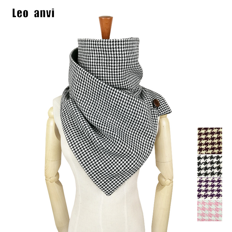 Leo Anvi Winter Ring Scarf Women Novelty Houndstooth Plaid Keep Warm Infinity Scarf Men Tube Luxury Brand Shawls And Scarves