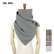 Ring Scarf Shawls Plaid Houndstooth Winter Keep-Warm Women Luxury Brand Anvi Leo Tube