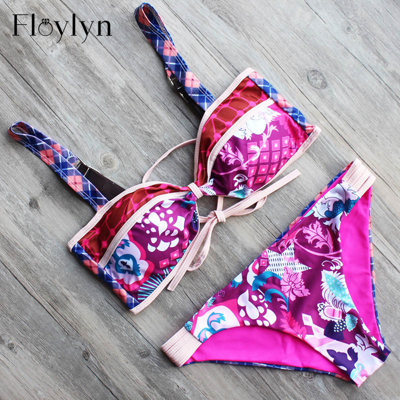 Floylyn Summer Style Bikini 2017 Swimwear Women Floral Printed Swimsuit Sexy Biquini Bathing Suit Maillot De Bain Femme winshiden women sexy bikini set vintage swimwear floral biquini flower printed swimsuit bathing suit swimming cloth 1492