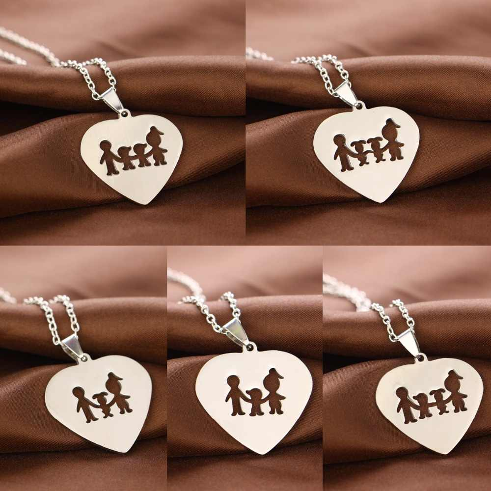 Stainless Steel Love Heart Pendant Mom Dad Parents Children Charm Necklace For Family Boys Girls Jewelry Mothers Fathers Gifts