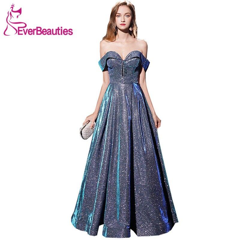 Abendkleider 2019   Evening     Dresses   Long Sequins Boat Neck Formal   Dress   Abiye Gece Elbisesi Robe De Soiree   Evening   Gown