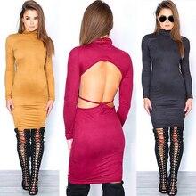 Sexy Club font b Dress b font 2017 Winter Warm Stretch Backeless Banadage font b Dress