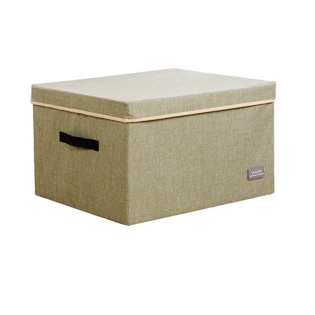 Dormitory Foldable Clothes World Cover Open And Close Storage Box Household Cotton And Linen Miscellaneous Finishing Box image
