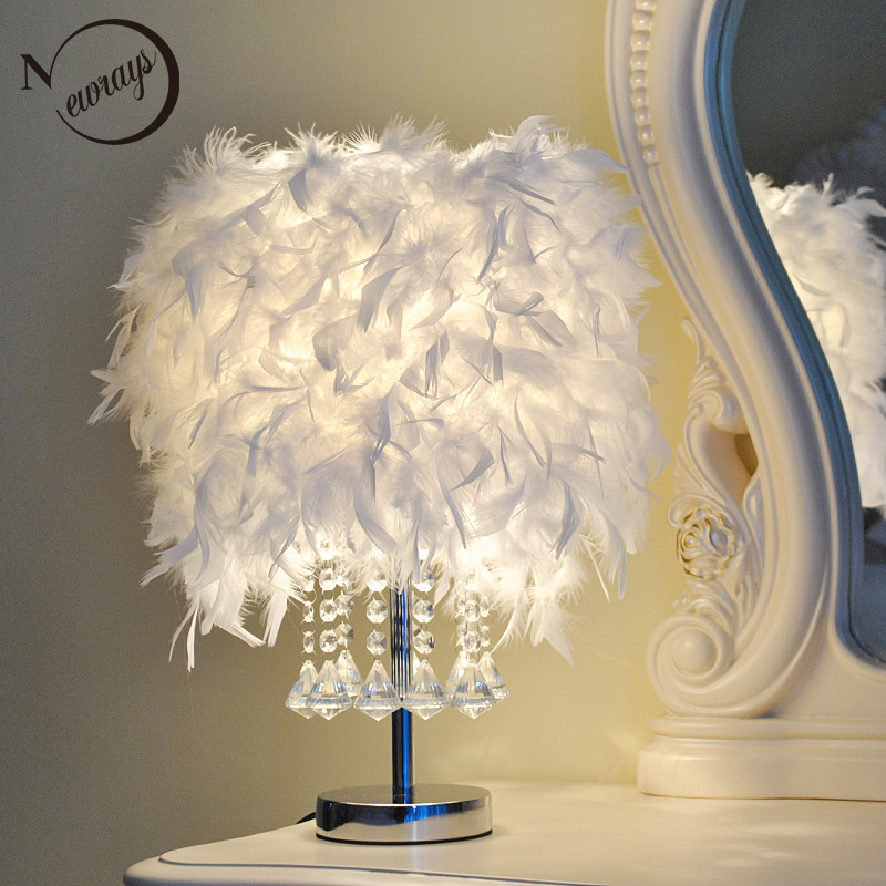 Modern creative feather crystal desk light E27 220V LED knob switch table lamp for bedroom restaurant living room hotel bar cafe