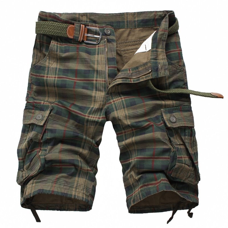 HOT 2018 Summer Style Mens Straight Grid 100% Cotton Workout Overalls Cargo Short pants Men Army Jungle Baggy Multi Pocket Short