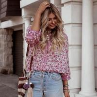 BOHOFREE Jasmine Floral Shirts Single breasted Boho Blusas Femmes Casual Fashion Loose Women Tops Bohemian Blouse Kimono Top