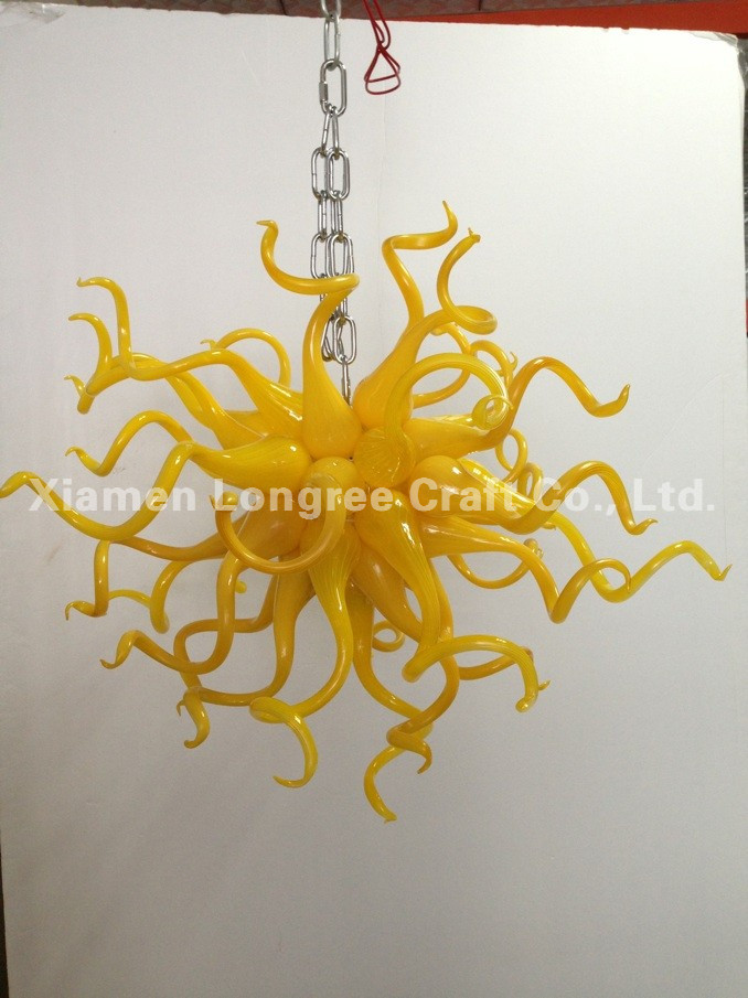 New arrival Lemon Yellow  24 Round Chain Chandelier Art Glass Chandeliers