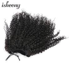 "Isheeny Afro Kinky Curly Ponytail Extensions Clip-Ins 8""-16"" Natural Black Brazilian Human Hair 100g/pc Adjustable Pony Tail(China)"