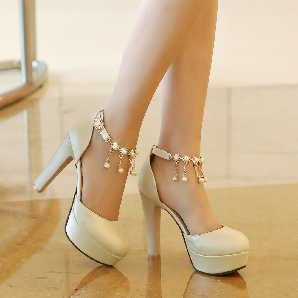 White strappy wedding heels